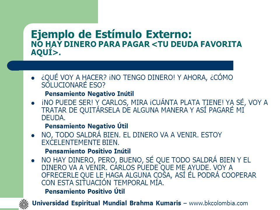 Ejemplo de Estímulo Externo: NO HAY DINERO PARA PAGAR <TU DEUDA FAVORITA AQUÍ>.