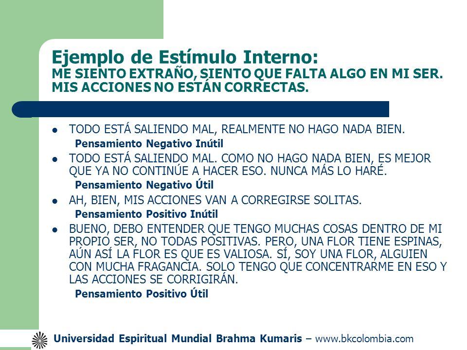 Ejemplo de Estímulo Interno: ME SIENTO EXTRAÑO, SIENTO QUE FALTA ALGO EN MI SER. MIS ACCIONES NO ESTÁN CORRECTAS.