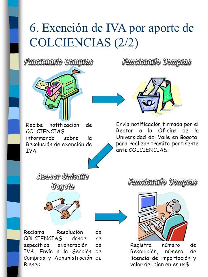 6. Exención de IVA por aporte de COLCIENCIAS (2/2)