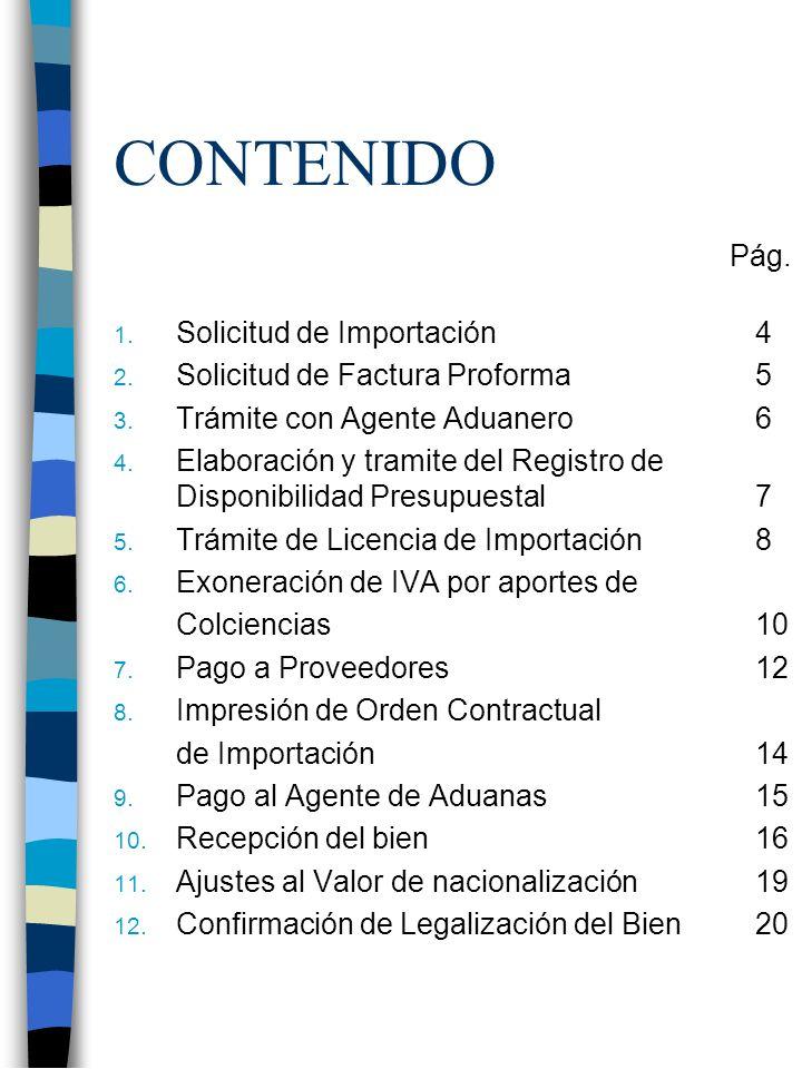 CONTENIDO Pág. Solicitud de Importación 4