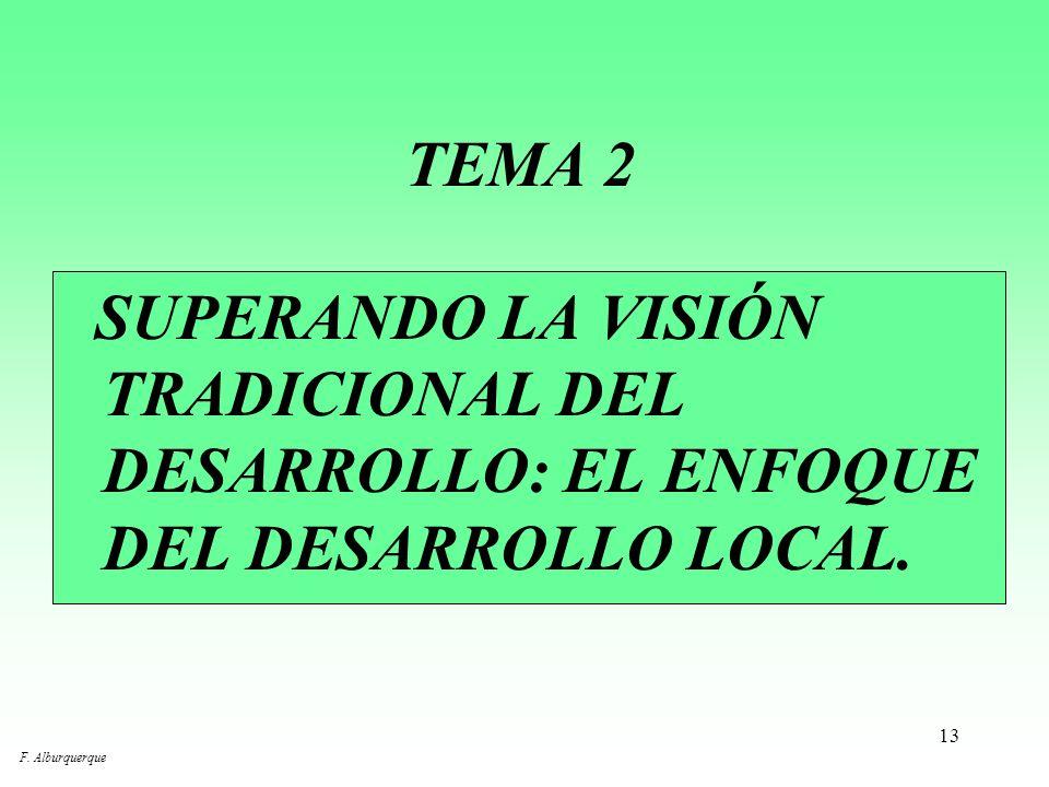 TEMA 2 SUPERANDO LA VISIÓN TRADICIONAL DEL DESARROLLO: EL ENFOQUE DEL DESARROLLO LOCAL.