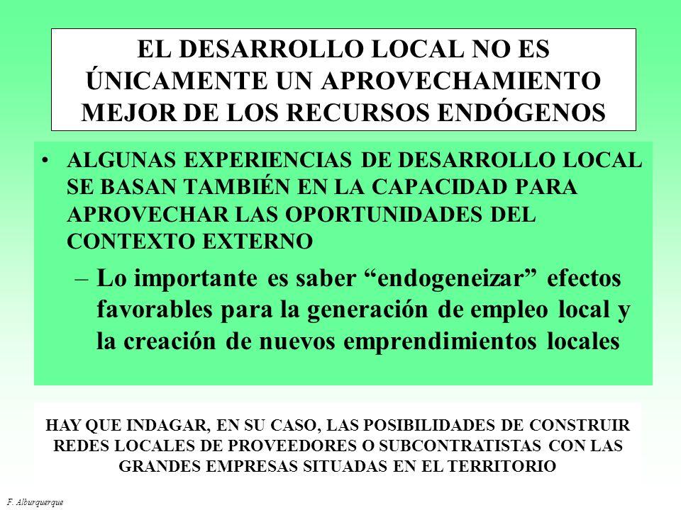 EL DESARROLLO LOCAL NO ES ÚNICAMENTE UN APROVECHAMIENTO MEJOR DE LOS RECURSOS ENDÓGENOS