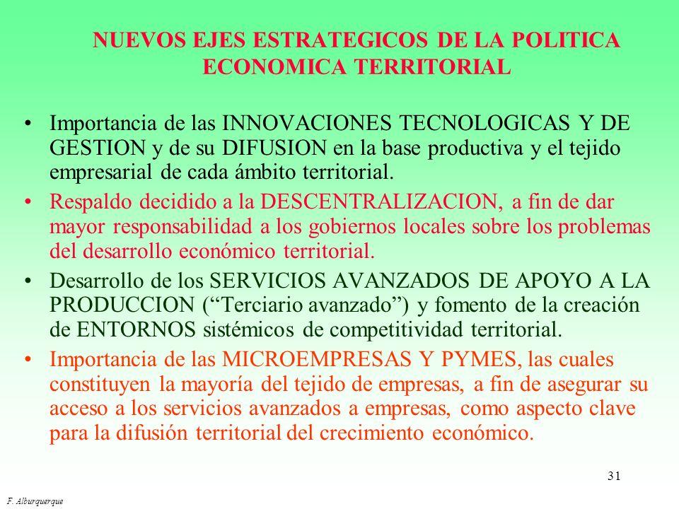 NUEVOS EJES ESTRATEGICOS DE LA POLITICA ECONOMICA TERRITORIAL