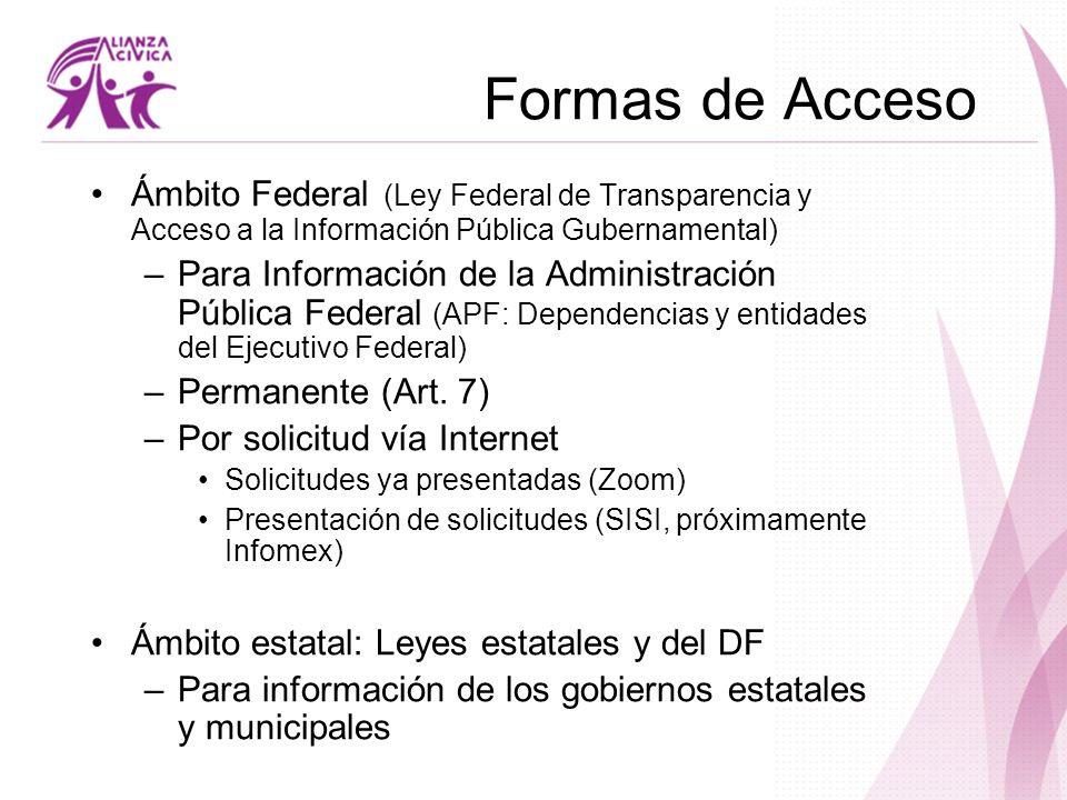 Formas de Acceso Ámbito Federal (Ley Federal de Transparencia y Acceso a la Información Pública Gubernamental)