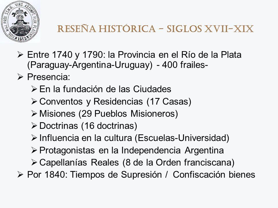 Reseña histórica - Siglos XVII-XIX