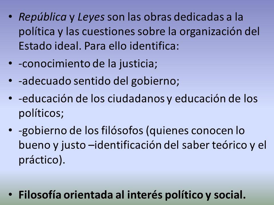 República y Leyes son las obras dedicadas a la política y las cuestiones sobre la organización del Estado ideal. Para ello identifica: