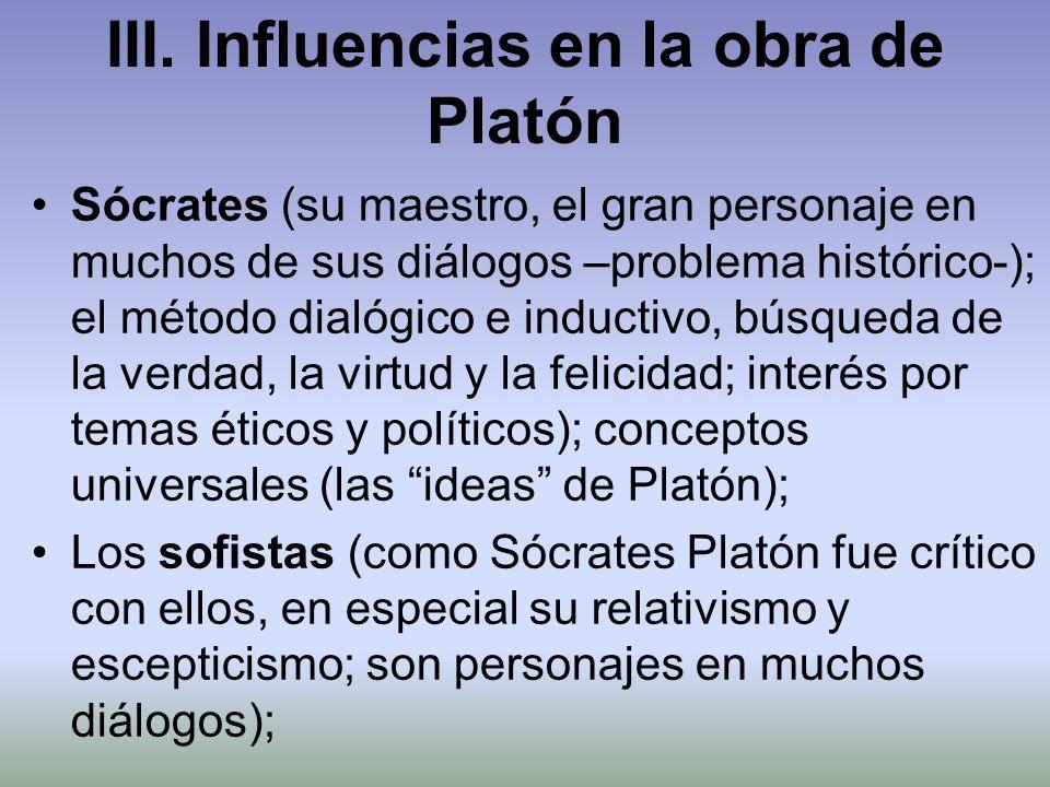 III. Influencias en la obra de Platón