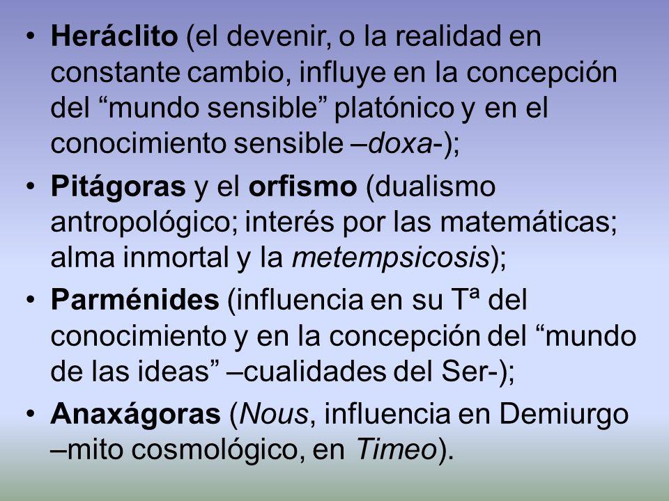 Heráclito (el devenir, o la realidad en constante cambio, influye en la concepción del mundo sensible platónico y en el conocimiento sensible –doxa-);