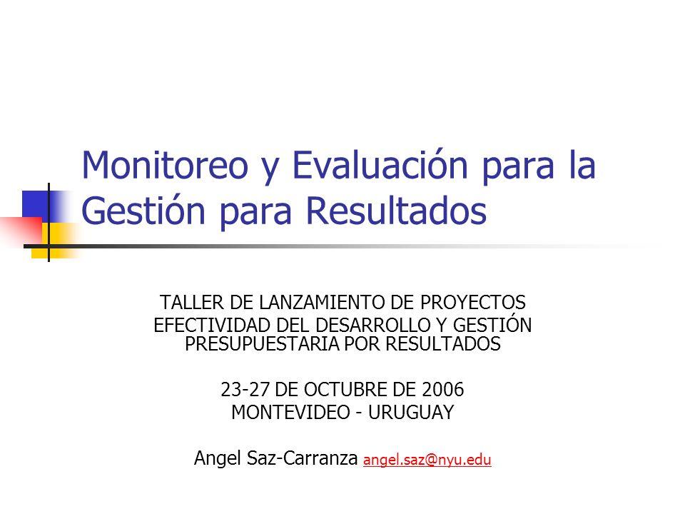Monitoreo y Evaluación para la Gestión para Resultados