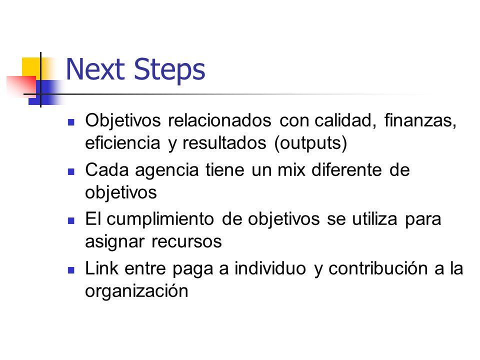 Next Steps Objetivos relacionados con calidad, finanzas, eficiencia y resultados (outputs) Cada agencia tiene un mix diferente de objetivos.