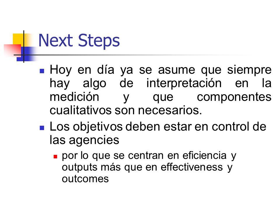 Next StepsHoy en día ya se asume que siempre hay algo de interpretación en la medición y que componentes cualitativos son necesarios.