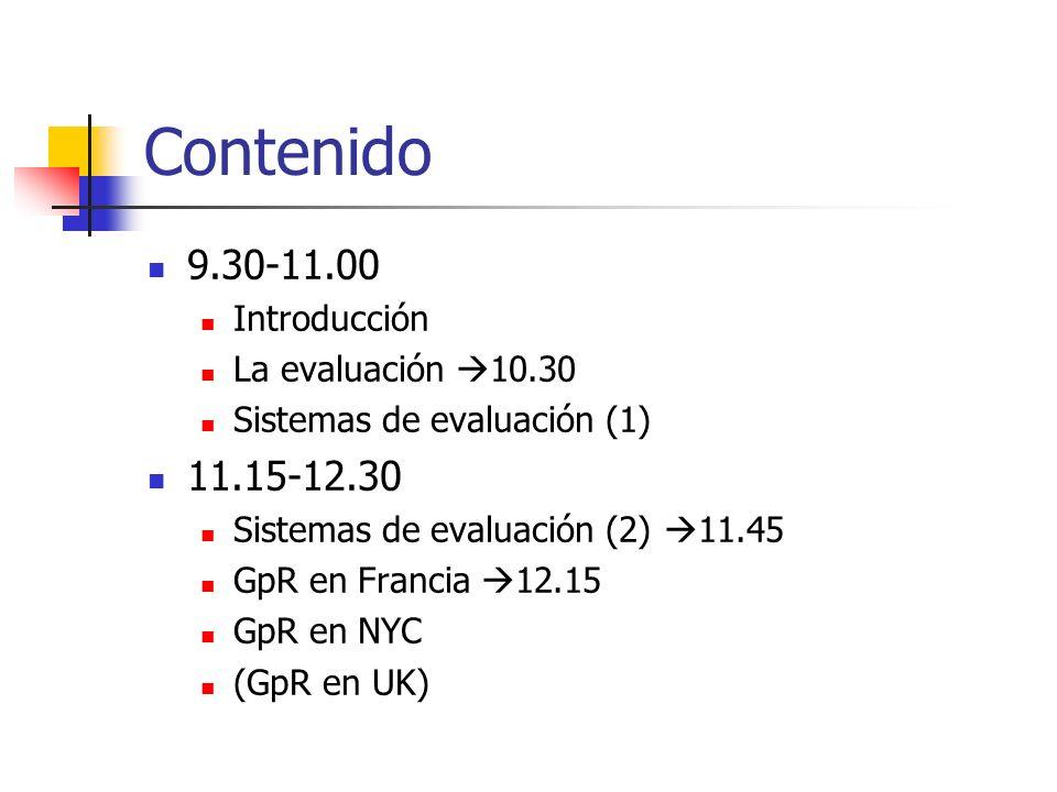 Contenido 9.30-11.00 11.15-12.30 Introducción La evaluación 10.30