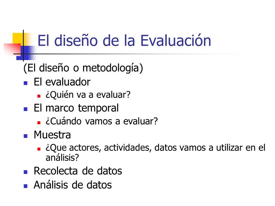 El diseño de la Evaluación