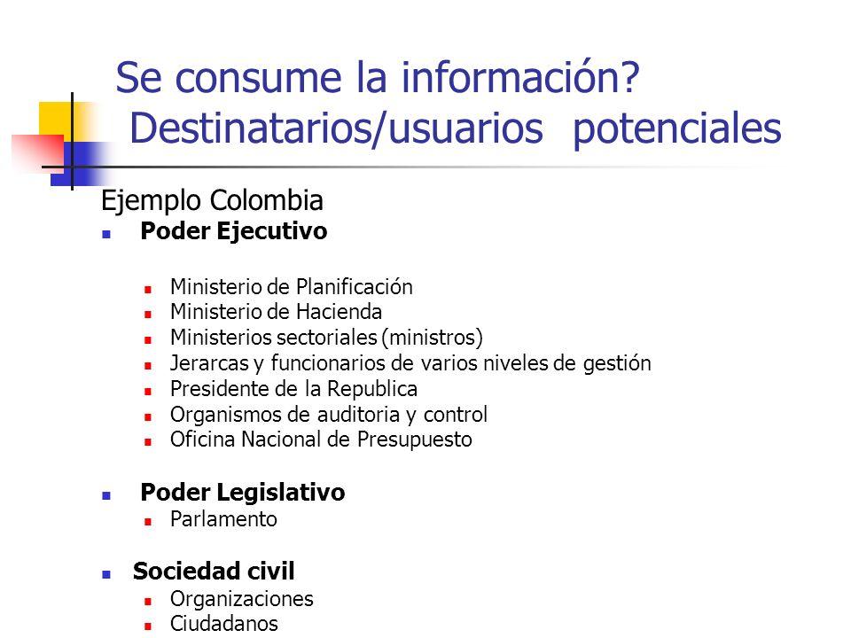Se consume la información Destinatarios/usuarios potenciales