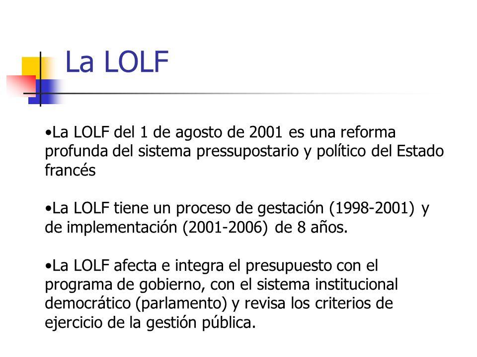La LOLF La LOLF del 1 de agosto de 2001 es una reforma profunda del sistema pressupostario y político del Estado francés.