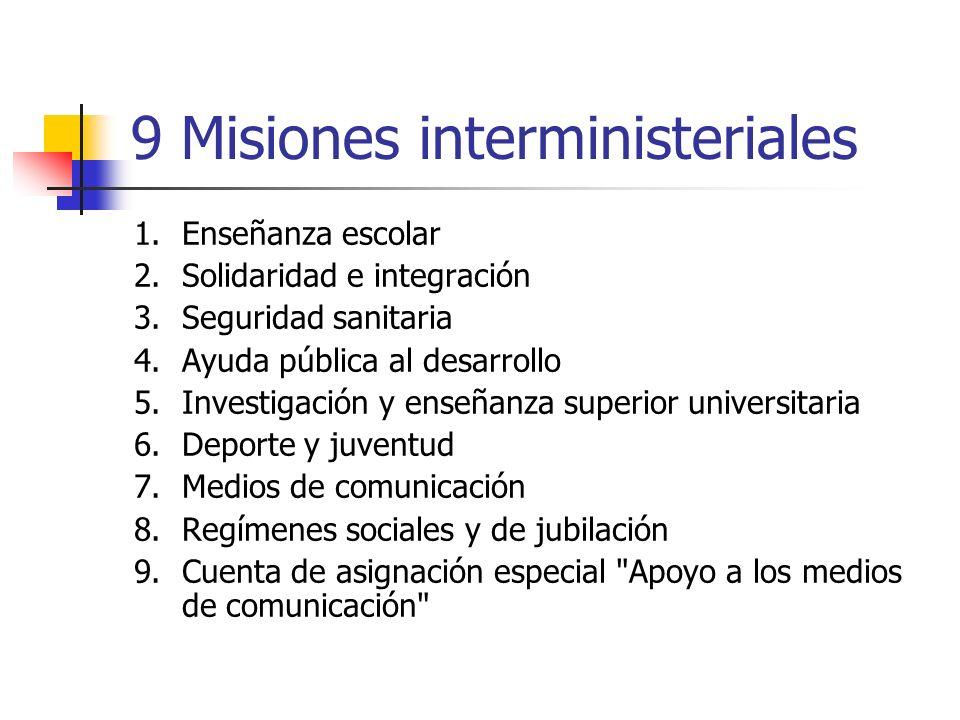 9 Misiones interministeriales