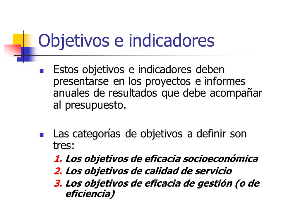 Objetivos e indicadores