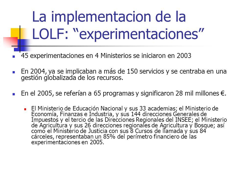 La implementacion de la LOLF: experimentaciones