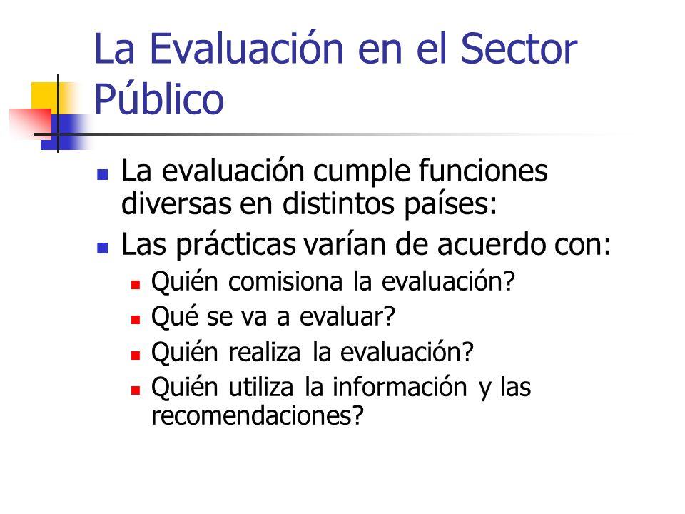 La Evaluación en el Sector Público