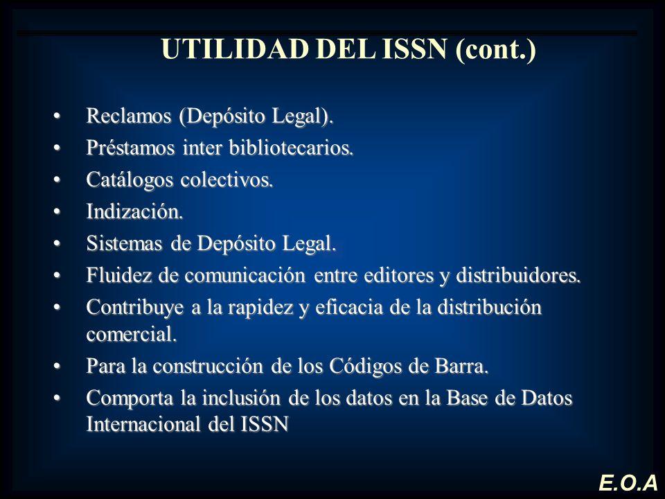 UTILIDAD DEL ISSN (cont.)
