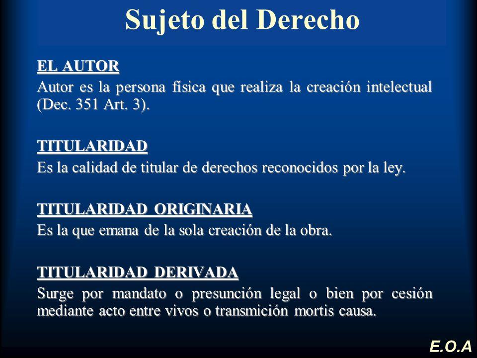 Sujeto del Derecho EL AUTOR