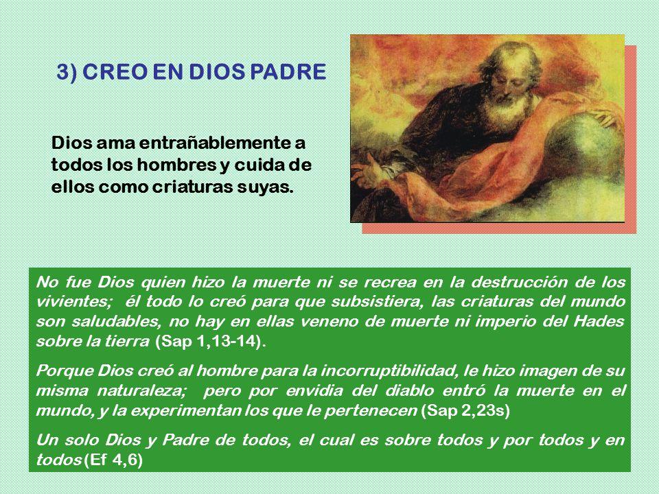 3) CREO EN DIOS PADREDios ama entrañablemente a todos los hombres y cuida de ellos como criaturas suyas.