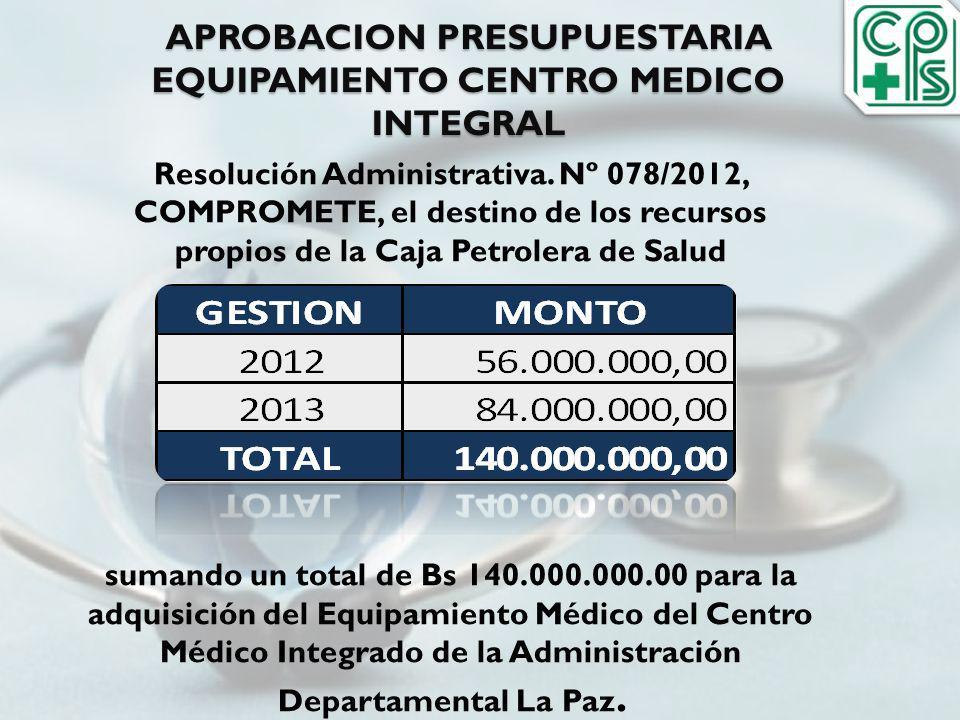 APROBACION PRESUPUESTARIA EQUIPAMIENTO CENTRO MEDICO INTEGRAL