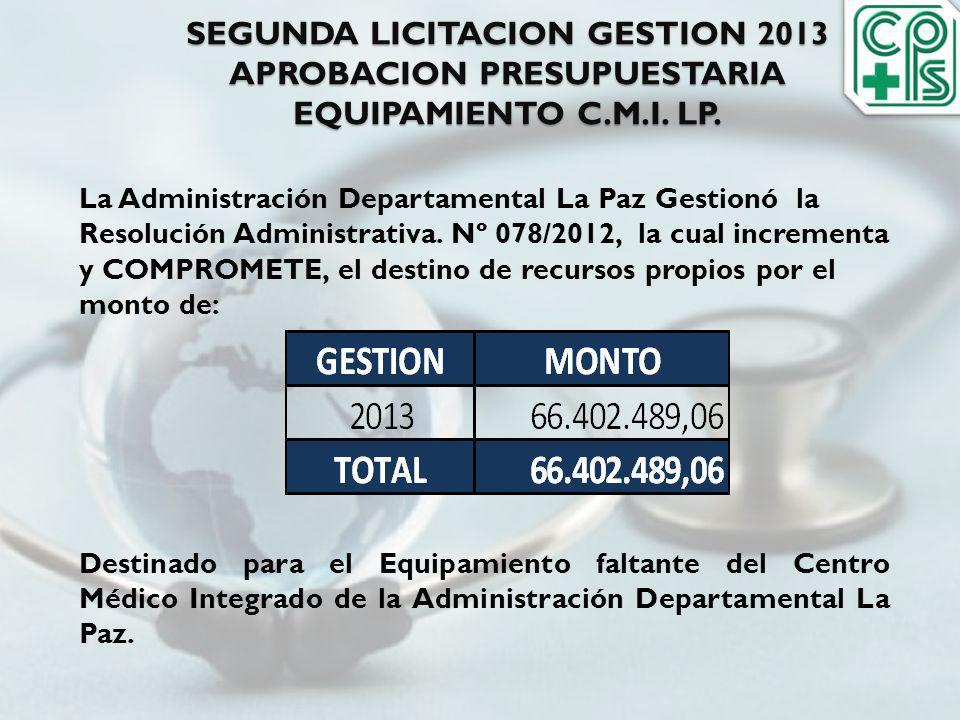 SEGUNDA LICITACION GESTION 2013 APROBACION PRESUPUESTARIA EQUIPAMIENTO C.M.I. LP.