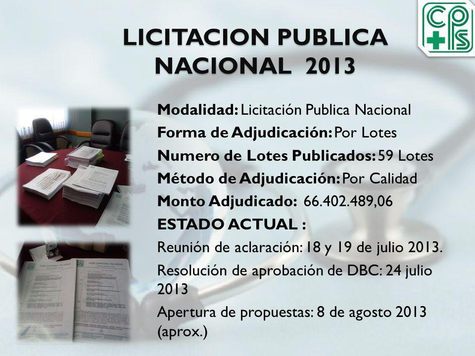 LICITACION PUBLICA NACIONAL 2013