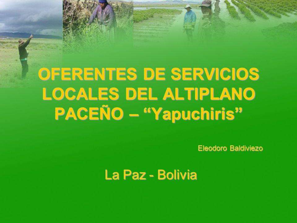 OFERENTES DE SERVICIOS LOCALES DEL ALTIPLANO PACEÑO – Yapuchiris