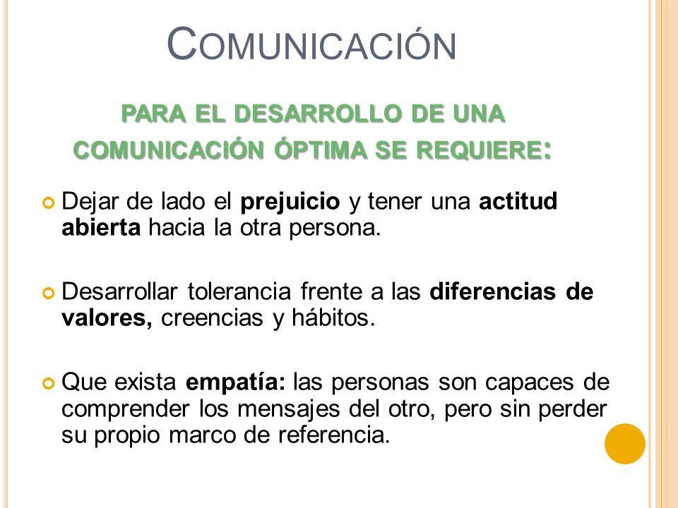para el desarrollo de una comunicación óptima se requiere: