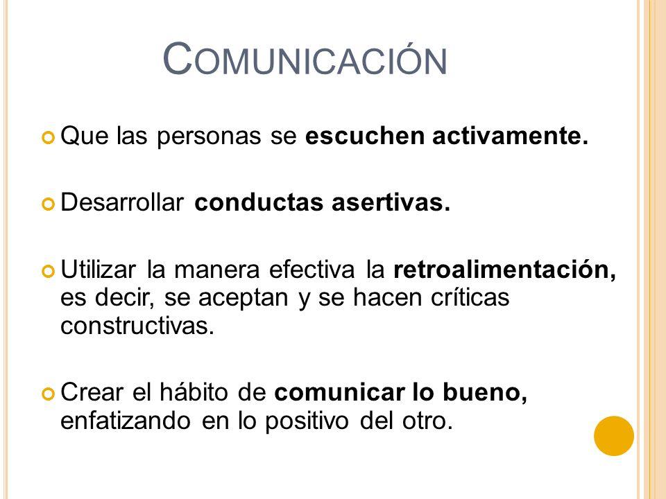Comunicación Que las personas se escuchen activamente.