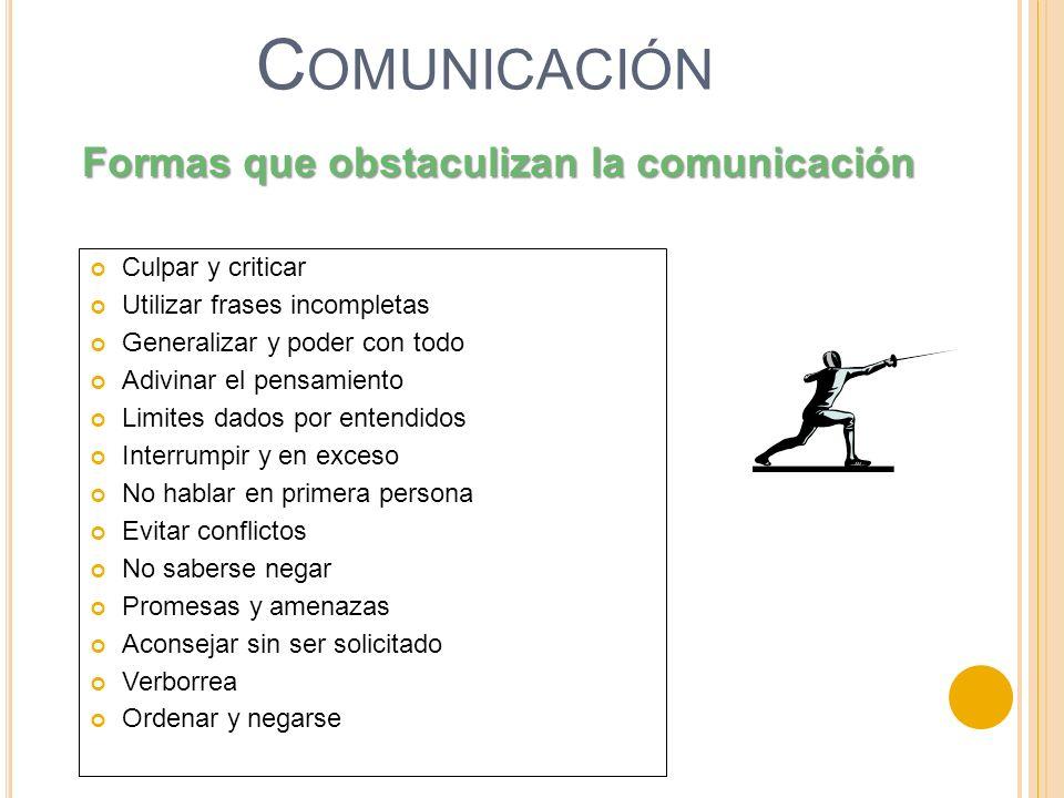 Comunicación Formas que obstaculizan la comunicación Culpar y criticar