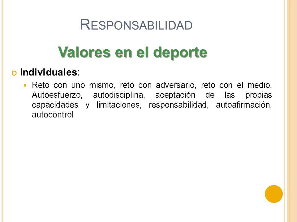 Responsabilidad Valores en el deporte Individuales: