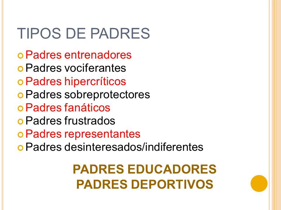 TIPOS DE PADRES PADRES EDUCADORES PADRES DEPORTIVOS