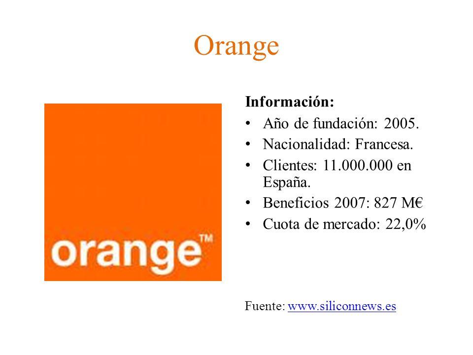 Orange Información: Año de fundación: 2005. Nacionalidad: Francesa.