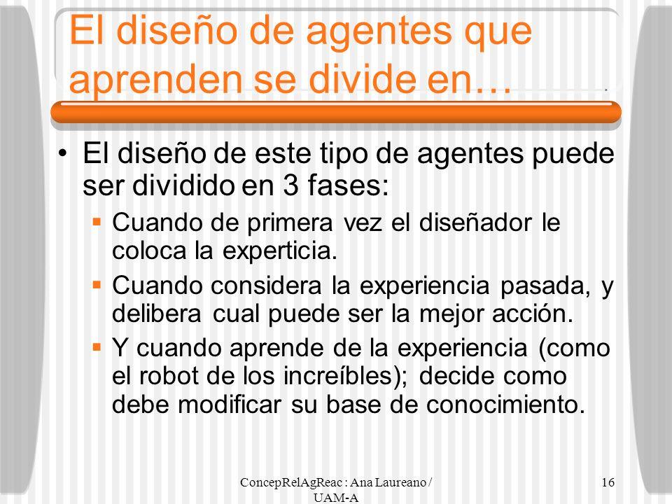 El diseño de agentes que aprenden se divide en…