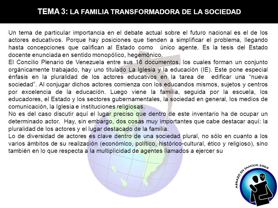 TEMA 3: LA FAMILIA TRANSFORMADORA DE LA SOCIEDAD