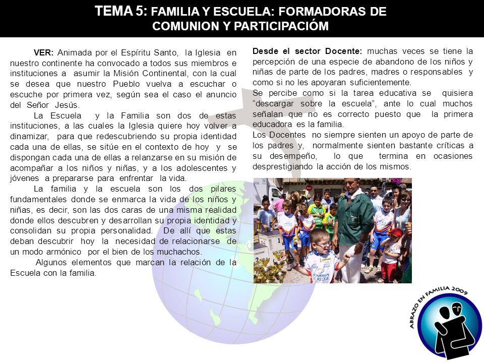 TEMA 5: FAMILIA Y ESCUELA: FORMADORAS DE COMUNION Y PARTICIPACIÓM