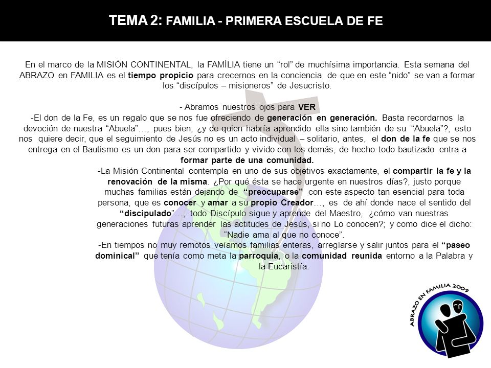 TEMA 2: FAMILIA - PRIMERA ESCUELA DE FE