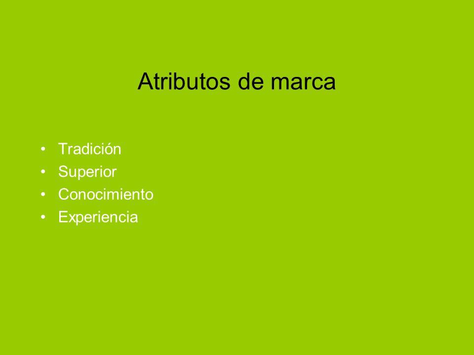 Atributos de marca Tradición Superior Conocimiento Experiencia
