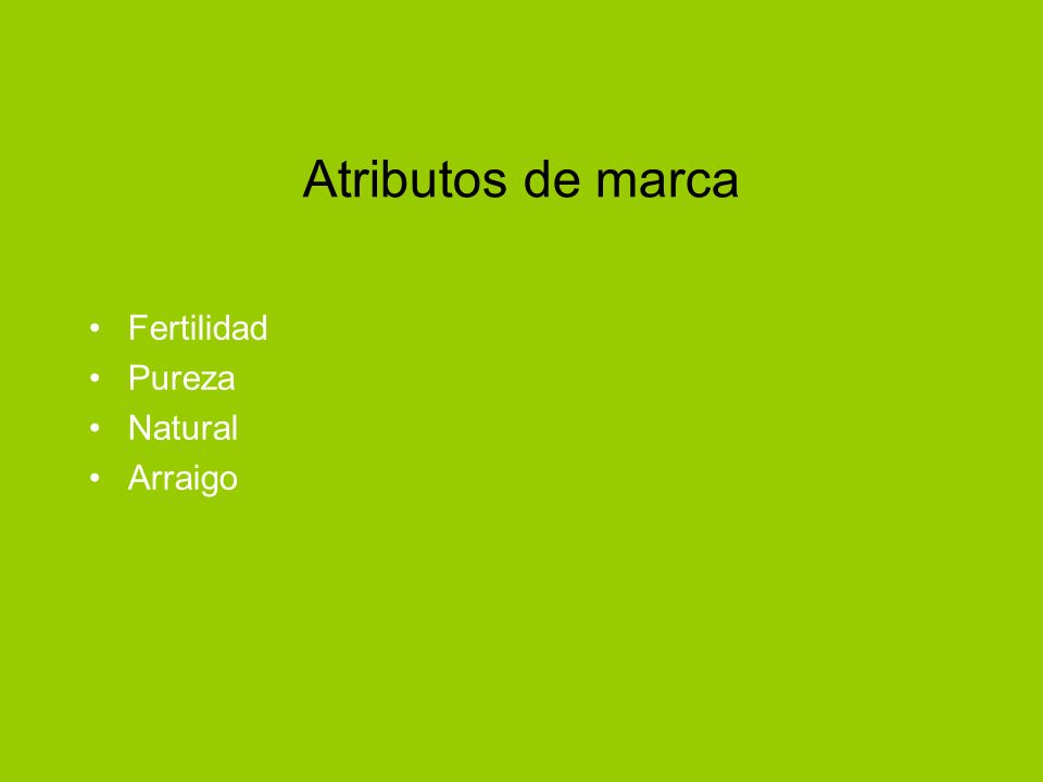 Atributos de marca Fertilidad Pureza Natural Arraigo