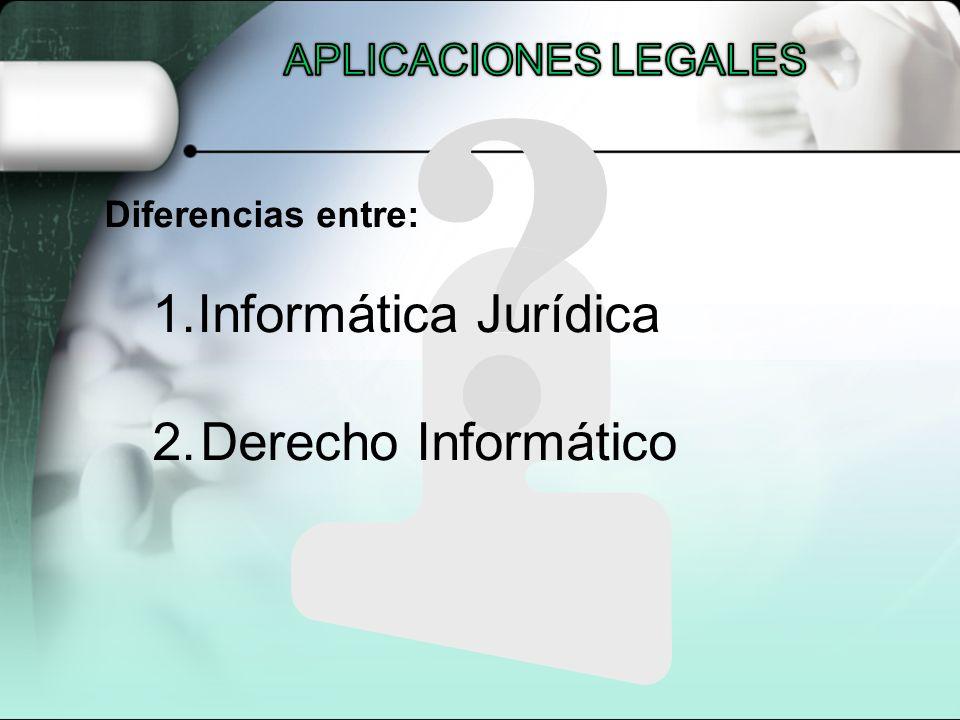 Informática Jurídica 2. Derecho Informático APLICACIONES LEGALES