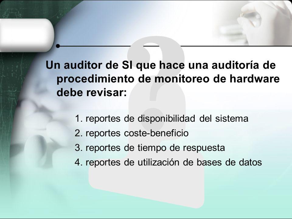 Un auditor de SI que hace una auditoría de procedimiento de monitoreo de hardware debe revisar: