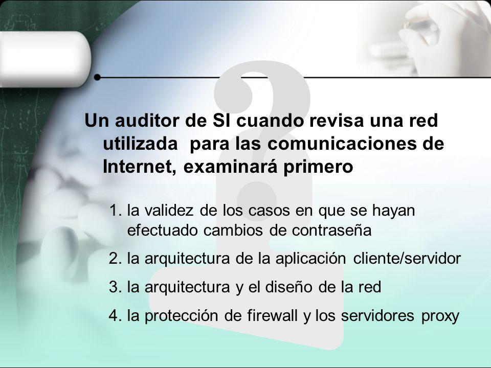 Un auditor de SI cuando revisa una red utilizada para las comunicaciones de Internet, examinará primero