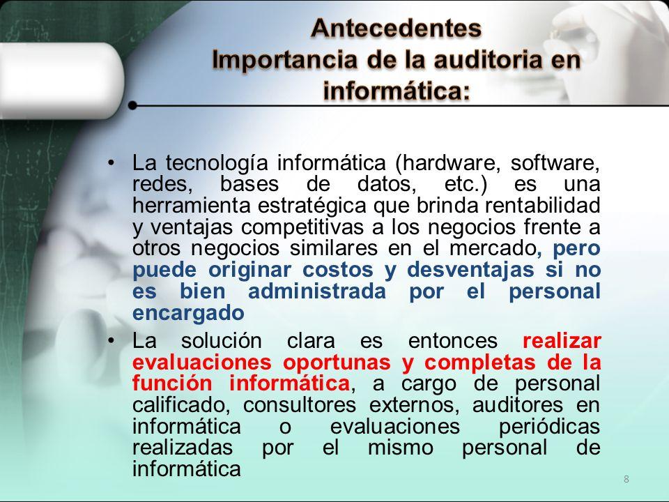 Antecedentes Importancia de la auditoria en informática: