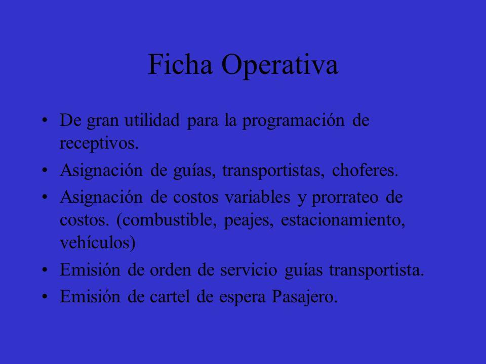Ficha Operativa De gran utilidad para la programación de receptivos.