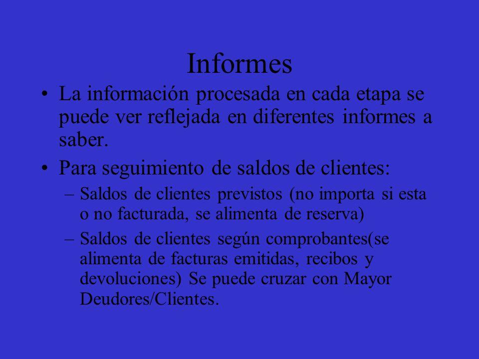 Informes La información procesada en cada etapa se puede ver reflejada en diferentes informes a saber.