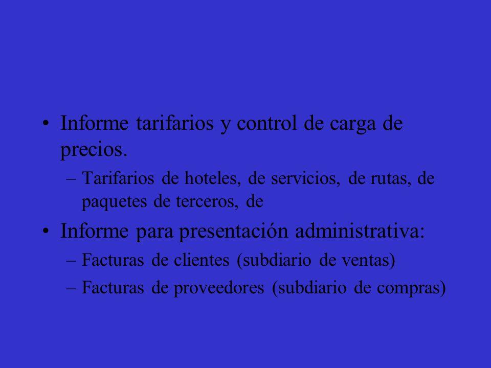 Informe tarifarios y control de carga de precios.