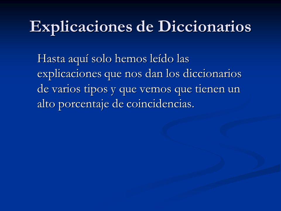 Explicaciones de Diccionarios